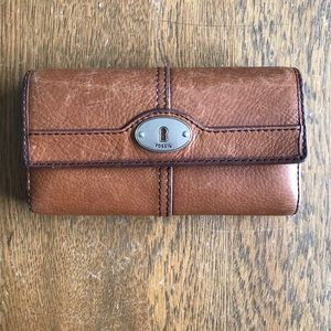 Fossil Wallet Trifold Brown Leather Checkbook